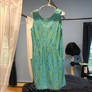 Bright blue/green sleeveless dress w front pockets